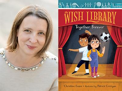 Christine Evans author photo and Wish Library #3 cover image