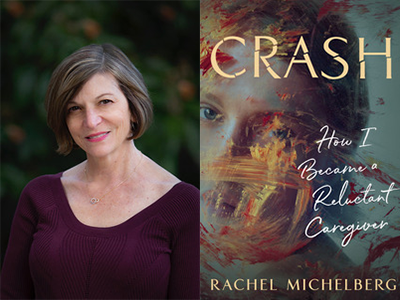 Rachel Michelberg author photo and Crash cover image
