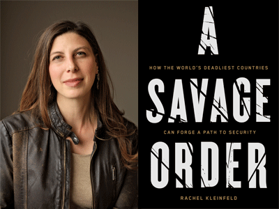 Rachel Kleinfield author photo and A Savage Order cover image