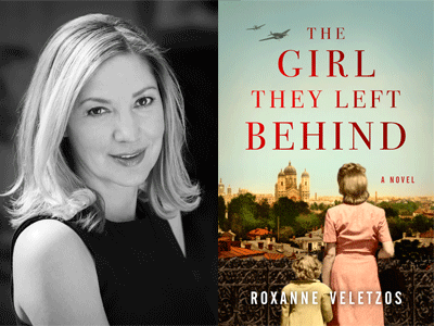 Roxanne Veletzos author photo and The Girl They Left Behind cover image