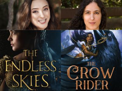 author photos of Shannon Price and Kalyn Josephson and cropped cover images for The Endless Skies and The Crow Rider