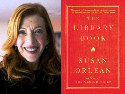 Susan Orlean author photo and The Library Book cover image
