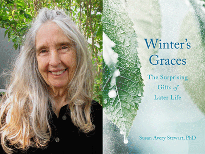Susan Stewart author photo and Winter's Grace cover image