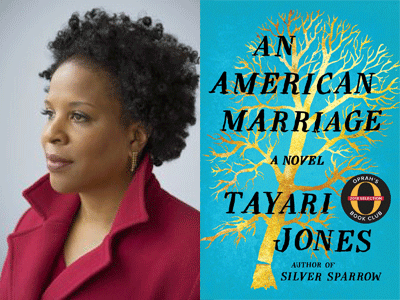 Tayari Jones author photo and An American Marriage cover image