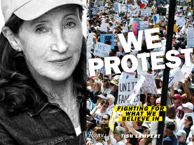 Tish Lampert author photo and We Protest cover image