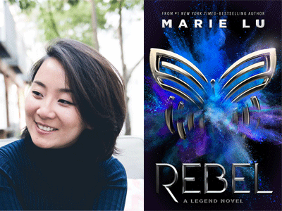 Marie Lu author photo and Rebel cover image