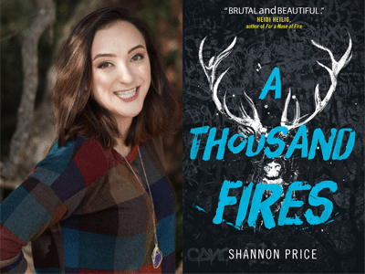 Shannon Price author photo and A Thousand Fires cover image