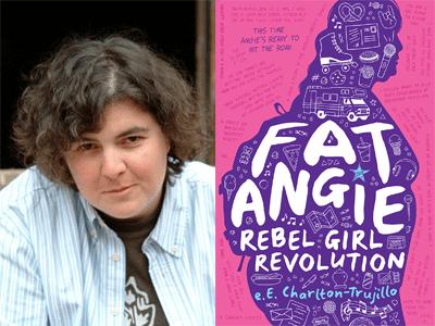 e.E Charlton-Trujillo author photo and Fat Angie cover image