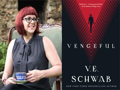 VE Schwab author photo and Vengeful cover image