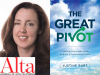 justine burt author photo and The Great Pivot cover image