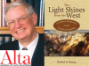 Robert C. Baron author photo and The Light Shines from the West cover image