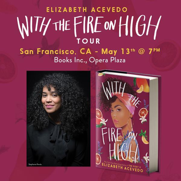 With the Fire on High at Books Inc. Opera Plaza tour announcement banner